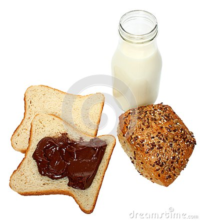 Bread with chocolate and milk