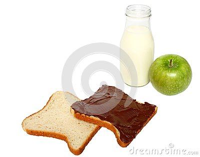 Bread with chocolate,milk and an apple