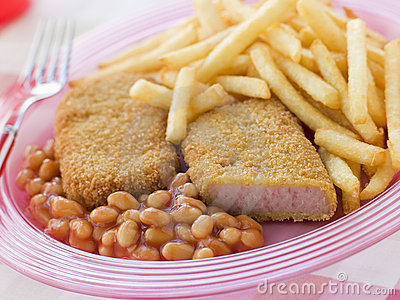 Bread crumbed Luncheon Meat with Baked Beans