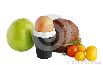 Bread,egg and apple