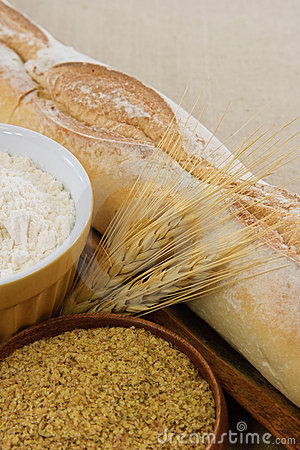 Free Bread, Flour, And Wheat Germ Show Food Allergens Stock Photos - 16710143
