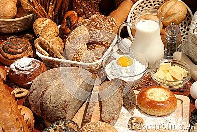 Bread, flour, milk, eggs