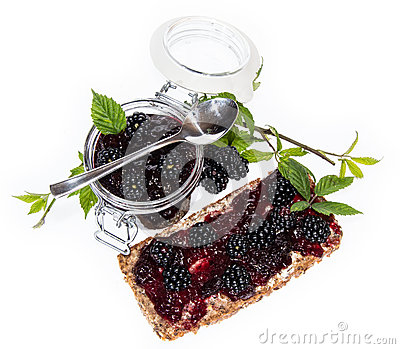 Bread and Glass with Blackberry Jam