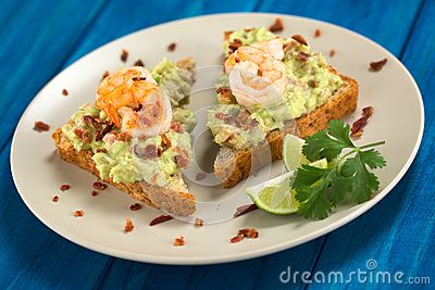 Bread With Guacamole, Shrimp And Bacon Royalty Free Stock Photos ...
