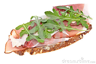 Bread with ham, Parmesan and rocket salad