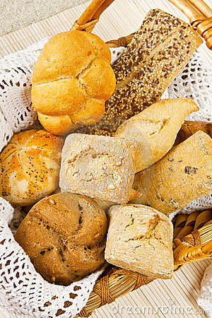 Free Bread In Wood Basket Stock Image - 8116811