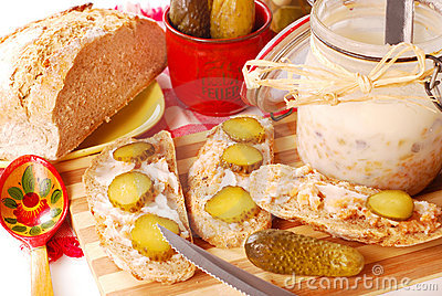 Bread with lard and gherkin