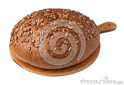 Bread loaf on a board