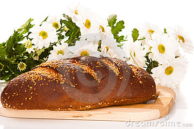 Bread loaf with flowers