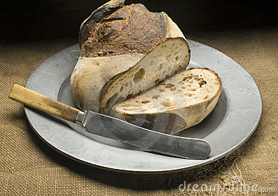 Bread on metal plate