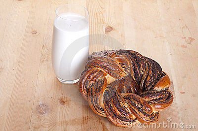 Bread and milk in a glass