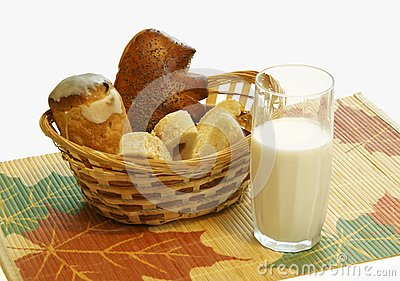 Bread and a milk glass