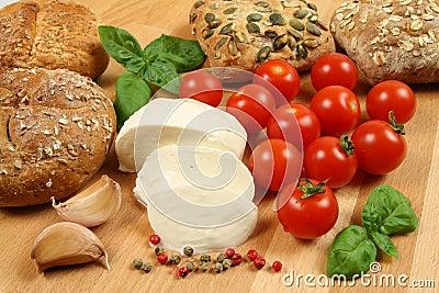 Bread, mozzarella, tomatoes