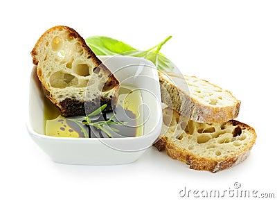 Bread olive oil and vinegar