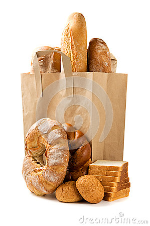 Bread in a paper bag isolated