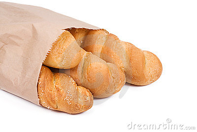 Bread in paper packet