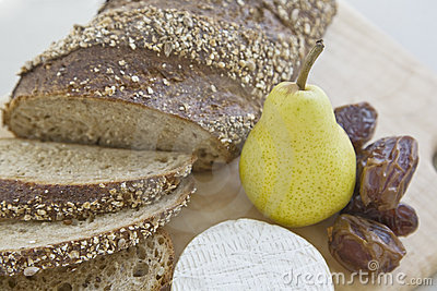 Bread, Pear, Dates And Cheese Stock Photo - Image: 11126170