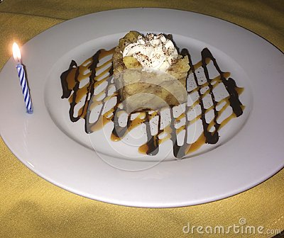 Cake Birthday Bread Pudding Stock Photo - Image: 49768192