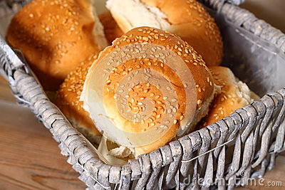 Bread rolls in basket A