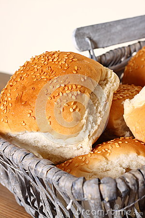 Bread rolls in basket B
