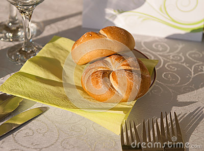 Bread rolls on a restaurant table