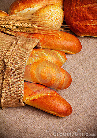 Bread on sack cloth