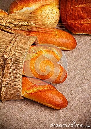 Bread on sack cloth