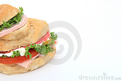 Bread sandwich with copy space