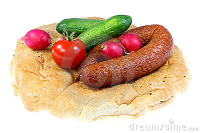 Bread, sausage and vegetables.
