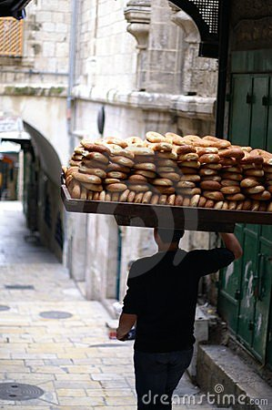 Bread seller in Jerusalem