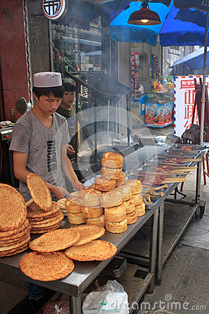 Bread seller in Xi an Editorial Stock Image