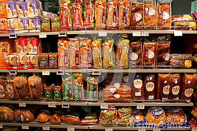 Bread on the shelves Editorial Stock Photo