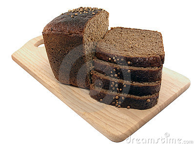 Bread slices wooden cutting board