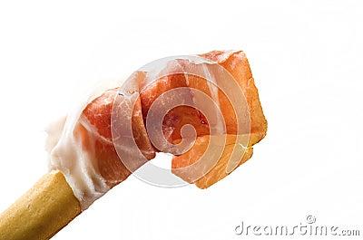 Bread stick with ham