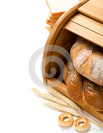 Bread still life with space