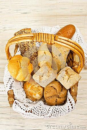 Bread in straw basket