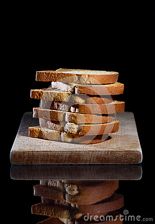 Bread toasts stack