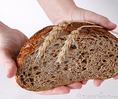 Bread, wheat-ears and hands