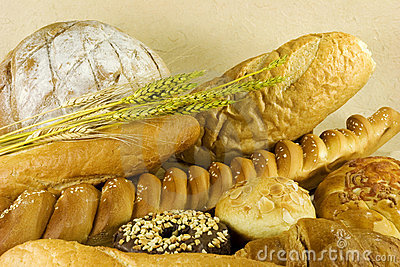 Bread with wheat leaves