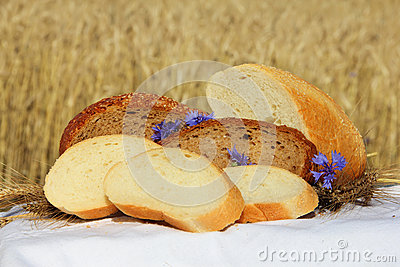 Bread and wheat outdoors