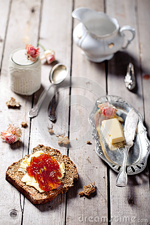 Free Bread With Butter, Jam And Yogurt Royalty Free Stock Photography - 39543307