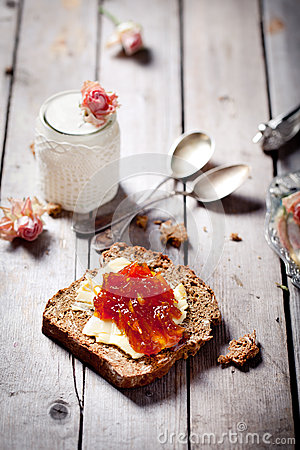 Free Bread With Butter, Jam And Yogurt Royalty Free Stock Image - 39543346