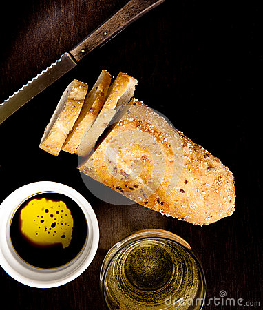 Free Bread With Oil And Vinegar Stock Photography - 25637672