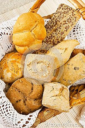 Bread in wood basket