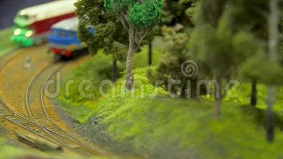 Breadboard πρότυπο ενός σιδηροδρόμου απόθεμα βίντεο