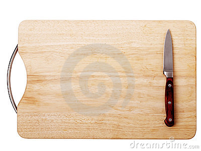 Breadboard with a knife