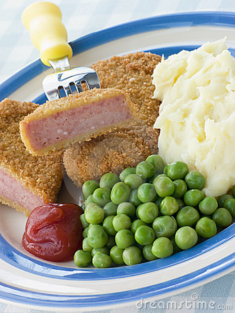 Breadcrumbed Luncheon Meat with Mashed Potato Peas