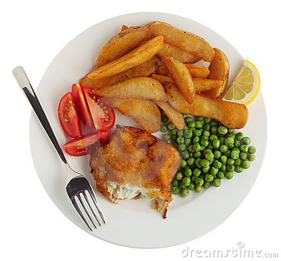 Breaded fish fillet meal from above
