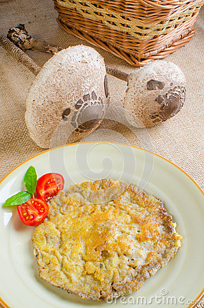 Free Breaded Parasol Mushroom Stock Photography - 26991762