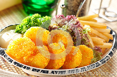 Breaded scallops